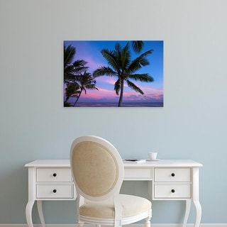 Easy Art Prints David Wall's 'Sunset And Palm Trees' Premium Canvas Art
