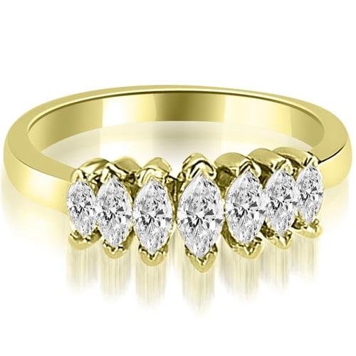 1.01 cttw. 14K Yellow Gold Marquise Diamond 7-Stone Wedding Band