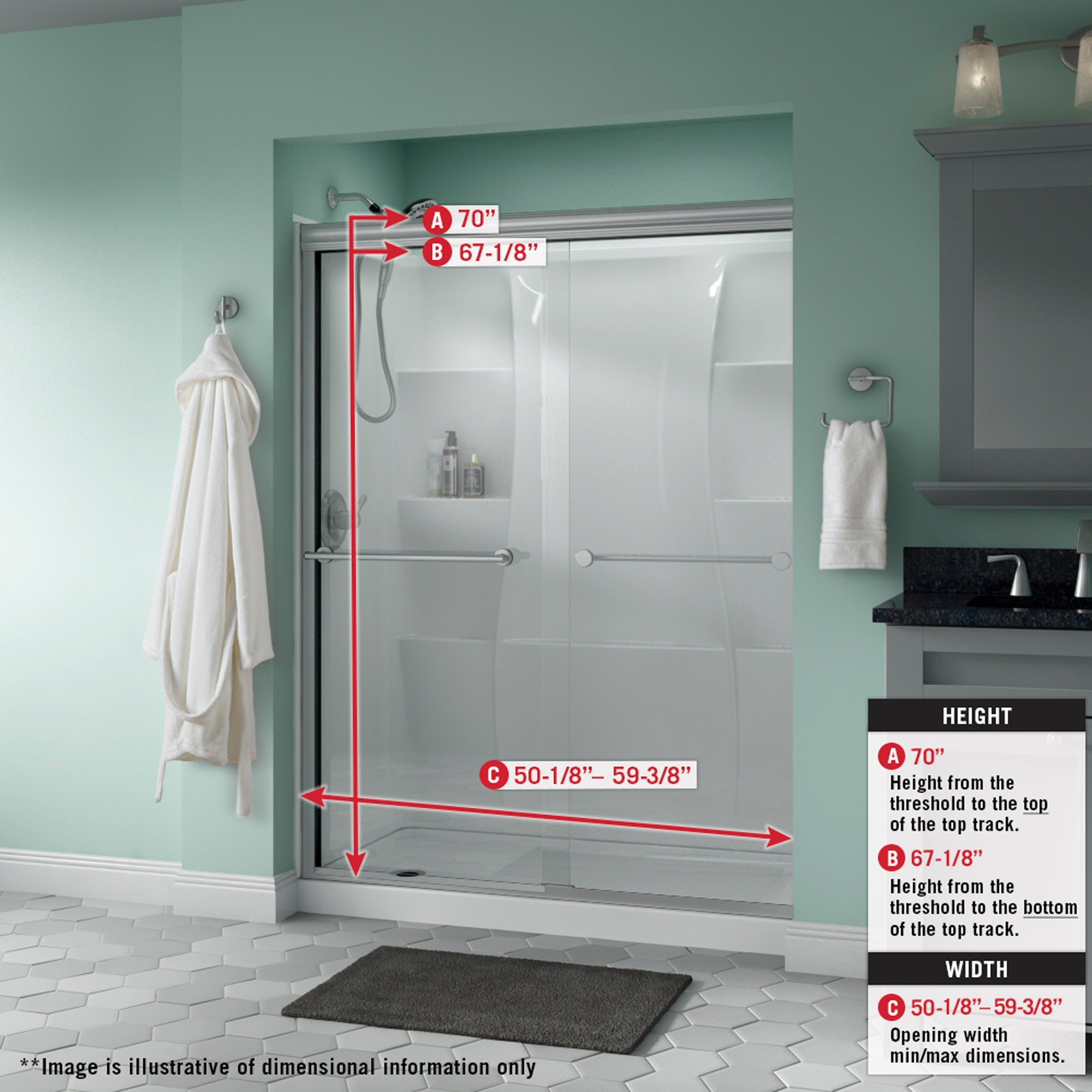 Delta Sd3172289 Trinsic 70 High X 59 3 8 Wide Sliding Semi Frameless Shower Door With Frosted Glass Chrome