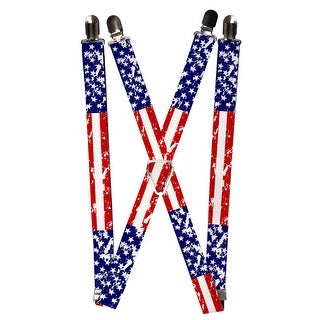 Buckle Down Elastic Weathered American Flag Clip End Suspenders - american flag - One Size