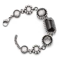 Chisel Stainless Steel Polished/Antiqued Glass with 1in ext. Bracelet