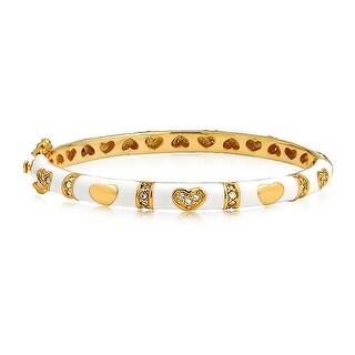Bling Jewelry Gold Plated White Enamel CZ Kids Heart Baby Bangle Bracelet