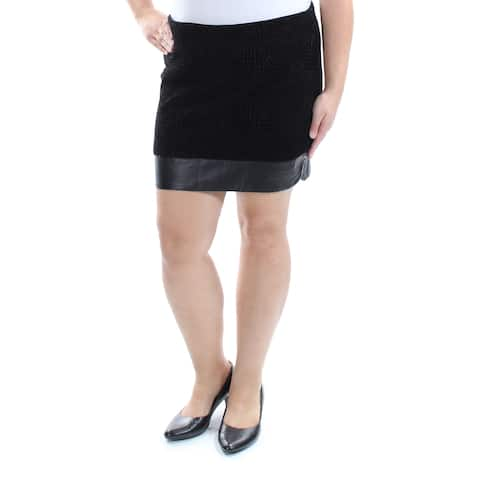 BAR III Womens Black Textured Above The Knee Pencil Skirt Size: XL
