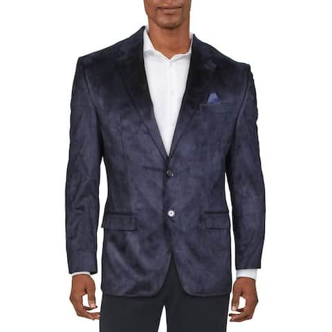 Lauren Ralph Lauren Mens Big & Tall Two-Button Blazer Faux Suede Suit Separate - Navy