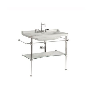 "WS Bath Collections Waldorf 4142K1+9196K1 Waldorf Ceramic White 39-2/5"" Console Bathroom Sink with Overflow & Metal Support Legs"