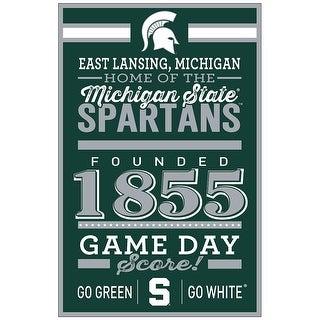 Michigan State Spartans Sign 11x17 Wood Established Design