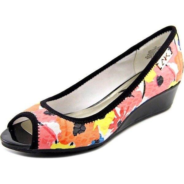 Anne Klein Sport Camrynne Women Open Toe Canvas Pink Wedge Heel