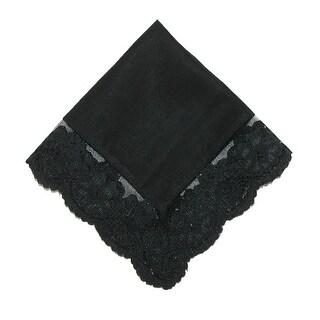 CTM® Women's Cotton Black Fairy Lace Handkerchief - One Size