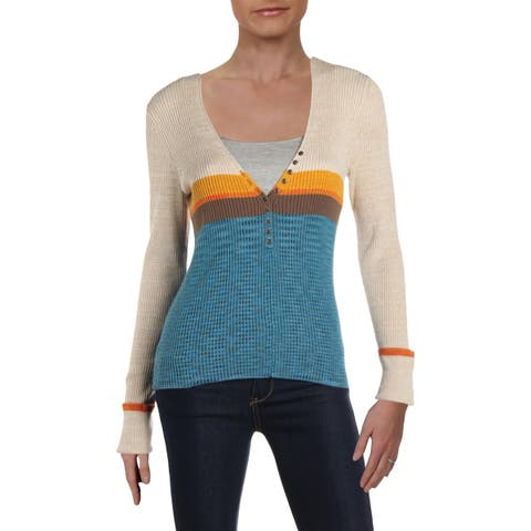 Free People Womens Frequency Henley Sweater Heathered V-Neck