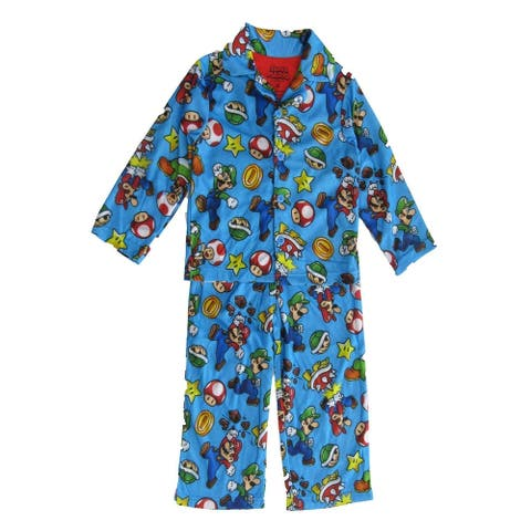Super Mario Brothers Little Boys Blue Button Up Long Sleeve Pajama 2pc Set