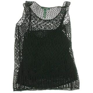 Lauren Ralph Lauren Womens Crochet Overlay Lined Tank Top - S