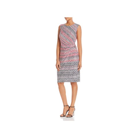 Nic + Zoe Womens Getting Spicy Midi Dress Printed Ruched