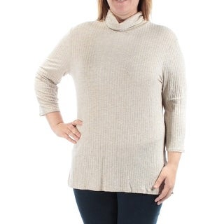 Womens Beige 3/4 Sleeve Turtle Neck Casual Top Size XL