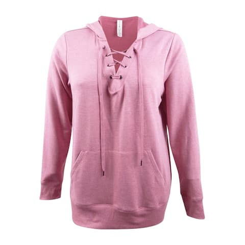 Ideology Women's Plus Size Lace-Up Hoodie