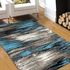 "Blue AllStar Modern. Contemporary Woven Area Rug. Drop-Stitch Weave Technique. Carved Effect. Vivid Pop Colors (7' 10"" x 10')"