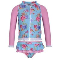 Sun Emporium Baby Girls Blue Pink Blossom Zip Jacket Nappy Cover Set