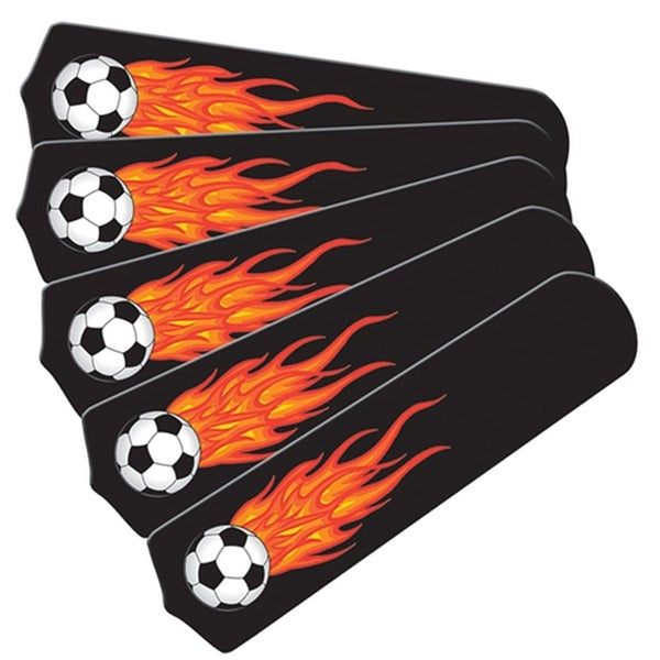 Flaming Soccer Balls Custom Designer 52in Ceiling Fan Blades Set - Multi