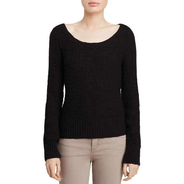 Free People Womens Pullover Sweater Textured Open Back