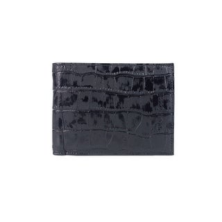 Roberto Cavalli Mens Croc Embossed Black Leather Wallet - M
