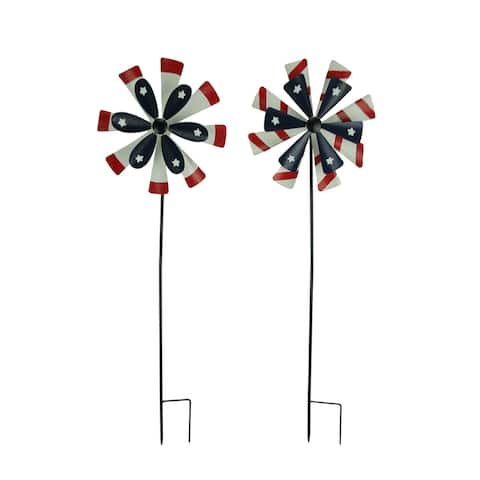 Red White and Blue Windmill Flowers Wind Spinner Garden Stake Set of 2 - 37.5 X 12 X 3.75 inches