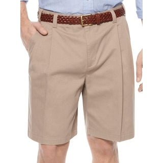 Geoffrey Beene Mens Casual Shorts Adjustable Waist Pleated (Option: 32 - Khaki)