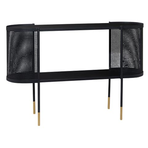 "Oval Black Metal Wrapped Console Table With Open Storage Center And Gold Detail Legs 47"" X 31.5"" - 47 x 15 x 32"