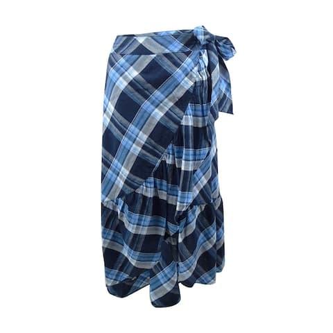 Lauren Ralph Lauren Women's Plaid Ruffled Asymmetrical Skirt - Blue Multi
