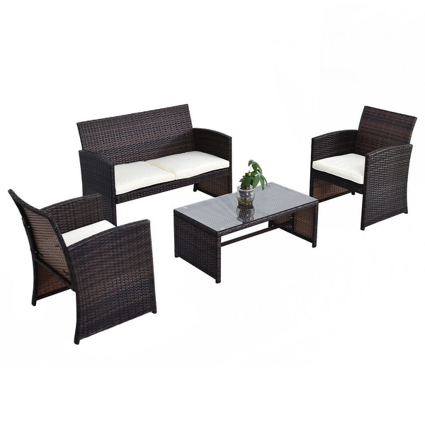 Costway outdoor 4pcs rattan wicker furniture set sofa seat for Outdoor furniture 0 finance