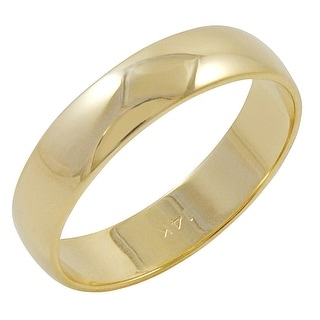 Men's 14K Yellow Gold 5mm Traditional Plain Wedding Band (Available Ring Sizes 8-12 1/2)