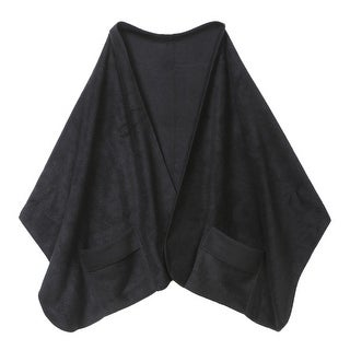 """Unisex Adult Shawl with Pockets - Polyester Fleece 20"""" x 58"""" - Black - One size"""