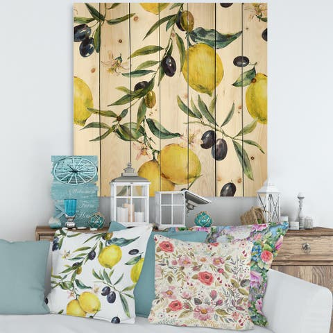 Designart 'Lemon and Olive Branches II' Tropical Print on Natural Pine Wood
