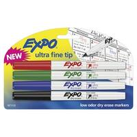 EXPO Dry Erase Markers, Ultra Fine Tip, Assorted Colors, Pack of 4