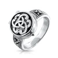 Bling Jewelry 925 Silver Triquetra Celtic Knot Cremation Urn Locket Ring