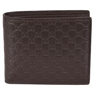 "Gucci Men's 260987 Brown Leather MICRO GG Guccissima Bifold Wallet - 4.5"" x 3.5"""