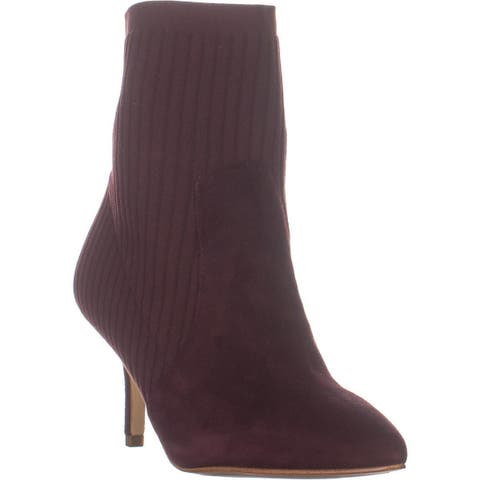 Marc Fisher Albinia Pointed Toe Pull On Boots, Dark Red - 7.5 US