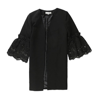 Link to Tahari Womens Lace Sleeve Jacket, black, 14 Similar Items in Women's Outerwear