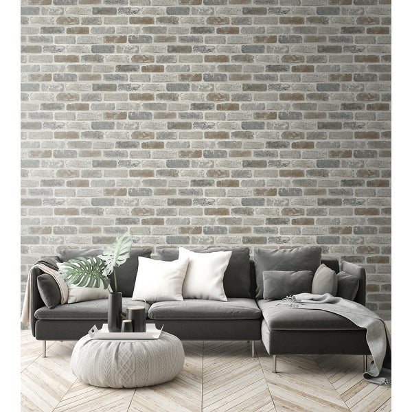 NextWall Washed Brick Peel and Stick Removable Wallpaper - 20.5 in. W x 18 ft. L. Opens flyout.