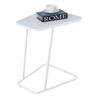 Gymax End Table Accent Side Snack Coffee Sofa Table Modern C Shape Glass Steel White