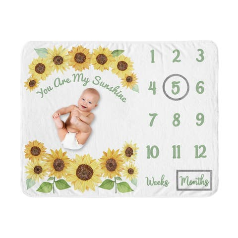 Sunflower Collection Girl Baby Monthly Milestone Blanket - Yellow and Green Farmhouse Watercolor Flower You Are My Sunhine