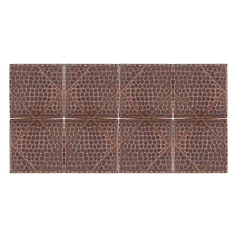 Premier Copper Products T4DBD_PKG8 4-inch x 4-inch Hammered Copper Tile with Diamond Design - Quantity 8