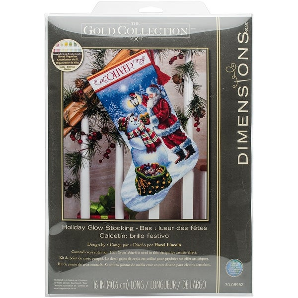 "Gold Collection Holiday Glow Stocking Counted Cross Stitch K-16"" Long 18 Count"