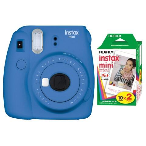 Fujifilm Instax Mini 9 (Cobalt Blue) w/Color Film (2-Pack)