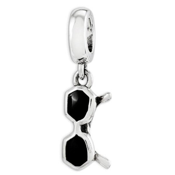 Sterling Silver Reflections Black Enamel Sunglasses Dangle Bead (4mm Diameter Hole)