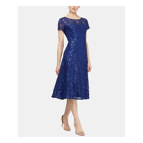 SLNY Womens Blue Short Sleeve Midi Sheath Formal Dress Size 18