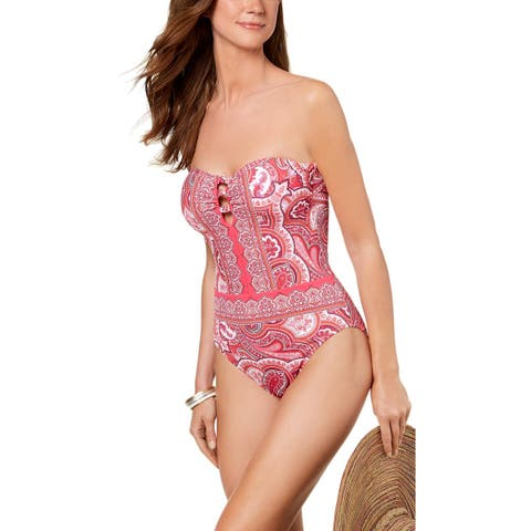 Lauren Ralph Lauren Womens Aegean Paisley-Print Bandeau One-Piece Swimsuit 14