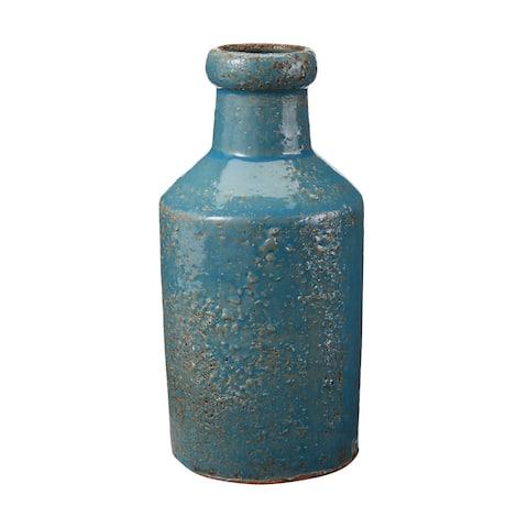 Elk Home 857083 Rustic Ocean Milk Bottle - Blue