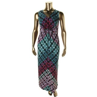 NY Collection Womens Plus Matte Jersey Printed Maxi Dress