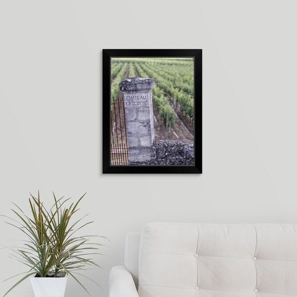 """Entrance of a vineyard, Chateau La Clotte, Bordeaux, France"" Black Framed Print"
