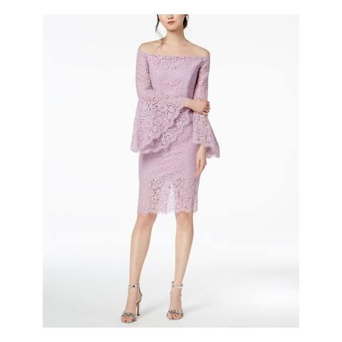 BARDOT Purple Bell Sleeve Knee Length Sheath Dress Size 4