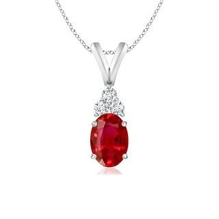 Angara Oval Ruby Solitaire Pendant with Trio Diamond V-Bail - White